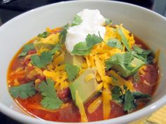Sophie in the Kitchen: Beefy Chili - Topped with diced avocados, shredded cheddar cheese, plain greek yogurt, and fresh cilantro.