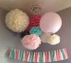 Tissue Paper Tassel Garland - Wedding Decoration - Nursery Child's room Decoration - Paper Decoration. $30.00, via Etsy.