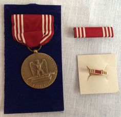 WWII Army Decoration Medal Good Conduct 1944 Ribbon Bar & Lapel Pin Army Decor, Military Decorations, Wonderful Things, Lapel Pins, Wwii, Ribbon, Bar, Personalized Items, Tape