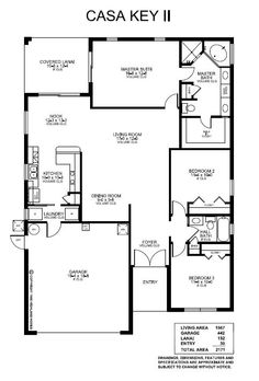 Highland Homes Casa Key II. 3 Bedrooms, 2 Baths, 2-Car Garage, 1567 sq. ft. living area.  Parade of Homes Grand Prize award winning floor plan!  Open living and dining room, kitchen with convenient breakfast bar and nook.  Spacious master suite includes luxury bath with dual vanities, corner-style garden tub and tiled walk-in shower. Enjoy the Florida weather on your covered lanai, with access from the nook and master.  http://www.highlandhomes.org/floorplan.php?cid=*=rto=65