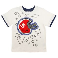 Solid White Hangdown Applique Tee - Football Graphic