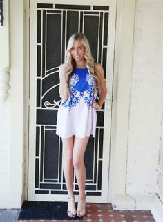 Blue Lilac Shift Dress,  Dress, blue lilac shift floral dress, Chic $50.00