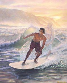 By Hawaiian artist, Shari Leohone. Notice the Hawaiian ancestral guide in the painting Hawaiian Dancers, Hawaiian Art, Polynesian Art, Polynesian Culture, Big Island, Island Life, Aloha Hawaii, Tropical Art, Hawaiian Islands