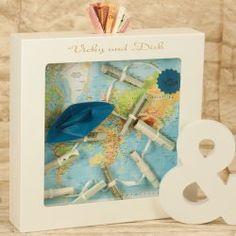 Ein wunderschönes Geldgeschenk für reisebegeisterte Brautpaare... #Geldgeschenk #Weltkarte #Flitterwochen
