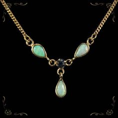 Lovely Vintage Natural Opal Sapphire Lavalier 9k Yellow Gold Necklace