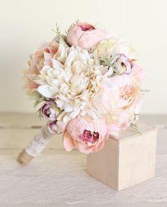 Silk bridal bouquet pink peonies dusty miller garden rustic chic wedding new 2014 design by morgann hill designs