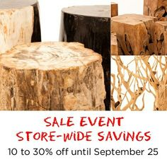 Save the planet and save your money -  Sale on until Sept. 25!  www.zenporium.com  #greenliving #sale #shoponline #guiltfreewood #sustainabledesign #rusticdecor #recalimedwoodfurniture #salvagedwoodfurniture #petrifiedwood #sustainableliving #organicdesign #Toronto #Leslieville #Zenporium Sustainable Design, Sustainable Living, Petrified Wood, Save Your Money, Save The Planet, Wood Furniture, Rustic Decor, Toronto, Events