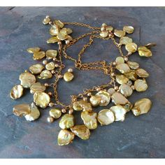 Gold Keshi Pearl Cascade Necklace Keishi by TransfigurationsJlry