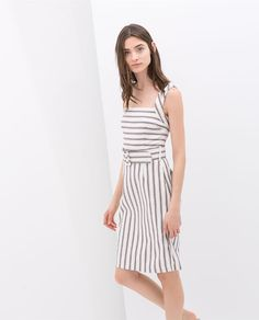 Image 3 of STRIPED DRESS WITH WIDE STRAPS from Zara