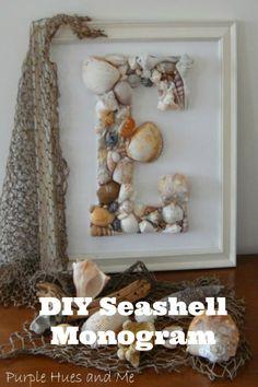 DIY seashell monogram ~ perfect for coastal beach-type decor