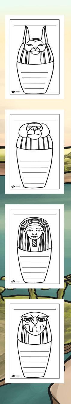 KS2 Ancient Egypt Canopic Jars Writing Frames #childrensartweek #artweek #ancientegypt #schoolart