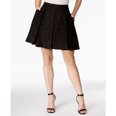 Guess High-Waist Pleated A-Line Skirt ($56) ❤ liked on Polyvore featuring skirts, jet black, high waisted skirts, high waisted a line skirt, high rise skirts, pleated skirt and pleated a line skirt