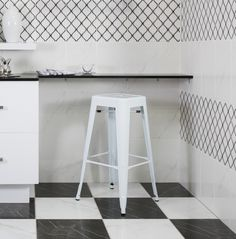 Love marble-look tiles but not sure how to put it all together? Create a classic checkboard pattern with black and white marble-look tiles paired with white marble on the walls. A matching décor tile adds interest and your own unique stamp. Marble Look Tile, Black And White Marble, Trendy Home, Bar Stools, Tiles, Stamp, Create, Classic, Unique