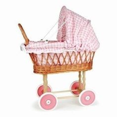 Poppenwagen riet roze/wit ruit