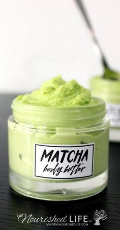 This smooth and ultra creamy DIY matcha body butter is a great way to moisturize dry skin this summer! Made with natural antioxidant rich matcha green tea, this DIY matcha body butter is scented with lavender essential oil to help soothe and comfort the skin after being in the sun.