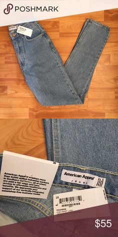 American apparel high-waist jeans. Denim light wash High-waist jeans. •ORIGINAL MADE IN AMERICA  •BRAND NEW/ NEVER WORN  •TAG IS STILL ATTACHED •Material- 100% cotton. American Apparel Jeans Skinny