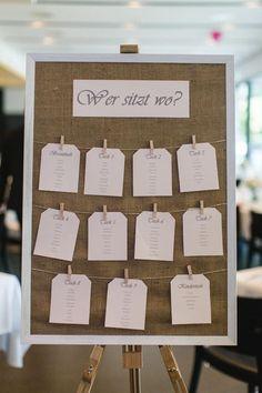 Sitzplan / Tischplan bei der Hochzeit / Hochzeitsfeier im Vintage-Stil. Foto: Freude Lachen Liebe