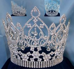 We present our latest pageant style crown for those wishing to make a statement of grandeur and elegance. Crafted with the finest imported faceted crystals and mounted on silver tone metal, the crown