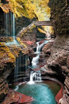 Watkins Glen State Park is the most famous of the Finger Lakes State Parks, with a reputation for leaving visitors spellbound. It is miles of natural beauty, waterfalls and gorges that words cannot do justice. You have to go and see this natural marvel. Places Around The World, The Places Youll Go, Places To See, Around The Worlds, Watkins Glen State Park, Les Cascades, Adventure Is Out There, Wonders Of The World, National Parks