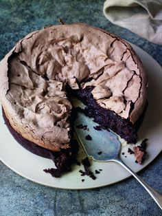 Double Baked Chocolate Meringue Brownie