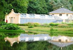 Branitz, Germany, blue glass in garden, niebieskie szkło, oranżerie, Zielona Metamorfoza