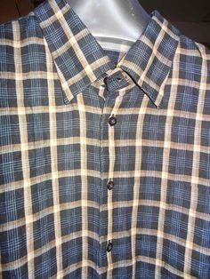 Scott  Barber  Linen Shirt XXL 2XL Navy Tan Beige White Crisp Long Sleeve Shirt #SCOTTBARBER #ButtonFront