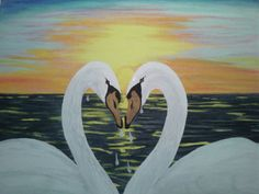 Sunset Swans by Driftinn on Etsy, $51.00    Valentines day is coming. . .