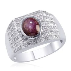 Liquidation Channel | Kenyan Star Ruby Fissure Filled and Diamond Men's Ring in Platinum Overlay Sterling Silver (Nickel Free)