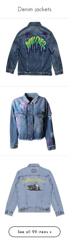 """Denim jackets"" by vanilla-cupcakee ❤ liked on Polyvore featuring tops, outerwear, blue, oversized tops, denim top, alexander wang top, graphic tops, double layer top, jackets and denim"