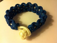 Para cord braided bracelet, Two-Toned, white with blue overlay, 9 in (P034) on Etsy, $8.50