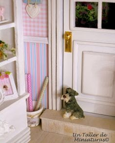Dollhouse Miniature Dog on Doorstep