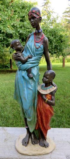 AFRICAN FIGURINE 14 in. ornament STATUE MOTHER WITH CHILDREN POLYRESIN FIGURINE