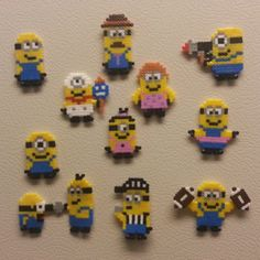 Minions hama beads by hakunashop. Got given a load of hama beads and we watched despicable me for the first time today. Melty Bead Patterns, Pearler Bead Patterns, Beading Patterns, Perler Beads, Fuse Beads, Minions, Fimo Kawaii, Minion Craft, Art Perle