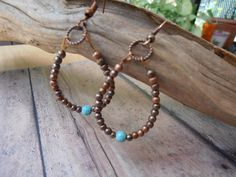 So COOL CoPper and Turquoise Earrings,Mothers Day Gift for a Hip Mom,Hoop Earrings,Dangle Earrings,Bohemian Jewelry by ArtisticDangles on Etsy