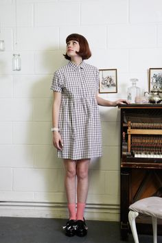 Check Shirt Dress in Grey Gingham  http://www.thewhitepepper.com/collections/new-in/products/check-shirt-dress-in-grey-gingham    Unique Leather Tassel Loafer Black  http://www.thewhitepepper.com/collections/shoes/products/unique-leather-tassel-loafer-black – avec Decima Eimly Hayes.