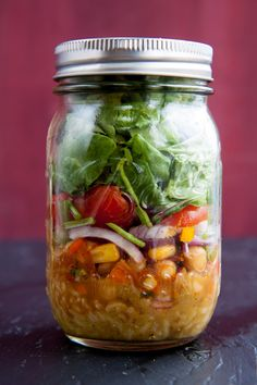 mexican chickpea salad in a jar