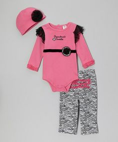 Take a look at this Pink 'Grandma's Sweetie' Bodysuit Set by Baby Essentials on #zulily today!