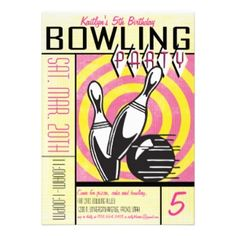 Shop Bowling Party Invitation - Pink created by bnuteproductions. Personalize it with photos & text or purchase as is! Pink Invitations, Invitation Design, Custom Invitations, Invites, Bowling Birthday Invitations, Retro Bridal Showers, Diy Birthday, Birthday Ideas, 10th Birthday