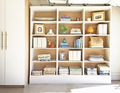 SIY - Wallpaper the backs of bookcases ~ 8 Ways to Make IKEA Look More Expensive via @MyDomaine