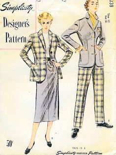 1950s CLASSIC Kate Hepburn Slim Skirt Suit and Pants Suit Pattern SIMPLICITY DESIGNERS 8339 Fitted Jacket Blazer, Slim Skirt ,High Waist Slacks  Bust 32 Vintage Sewing Pattern