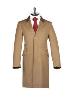 Beige Covert Coat with Velvet Collar - Harvie & Hudson