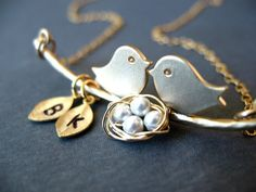 LOVE Birds and kids Necklace Personalized Custom by BlueDoveStudio, $39.50