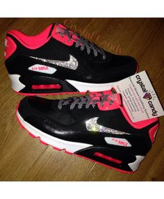competitive price 81b76 8dc22 Nike Air Max 90 Candy Black Pink Crystal Trainers UK Clearance