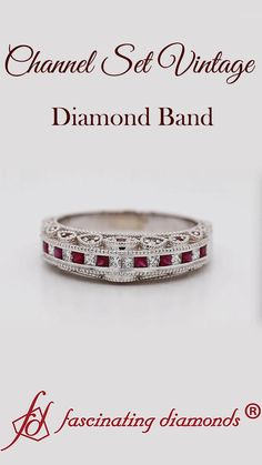 This channel set vintage diamond band draws your attention with a fine series of small shimmering princess cut diamonds & ruby aligned excellently in a classic channel setting. Further beautifying the band are tiny twinkling round shaped stones studded on both the sides of the shank in an alluring pattern framed with the stunning milgrain outline adding a vintage touch to your appeal exquisitely. #fascinatingdiamonds #diamonds #rings #weddingband #weddingrings #womens #jewelry #fashion… Vintage Diamond Wedding Bands, Custom Wedding Rings, Wedding Rings For Women, Wedding Jewelry, Best Diamond, Diamond Bands, Pretty Rings, Quality Diamonds, Princess Cut Diamonds