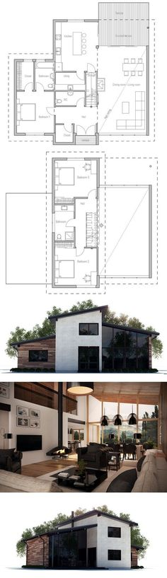 Modern house with open plan and three bedrooms, large windows, covered terrace. Floor Plan