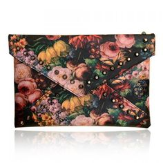 Stylish Rivets and Oil Painting Design Clutch For Women #CLICK! #clothing, #shoes, #jewelry, #women, #men