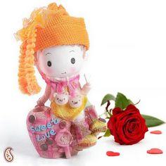 Sweet Love Motif Ceramic Doll