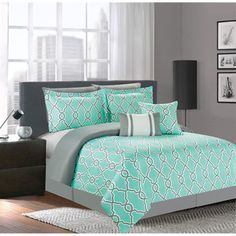 turquoise bedroom for teens (Turquoise Room Decorations) Bedroom decor ideas - Tags: turquoise bedroom decor, turquoise living room decor, turquoise room ideas, turquoise room ideas teenage Grey And Teal Bedding, Teal Bedding Sets, Comforter Sets, Blue Comforter, Gray Bedroom Walls, Room Decor Bedroom, Living Room Decor, Bedroom Ideas, Furniture