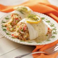 Tangy Crab-Stuffed Sole Recipe. made this tonight and it turned out so good :) so easy and a nice refreshing light dinner