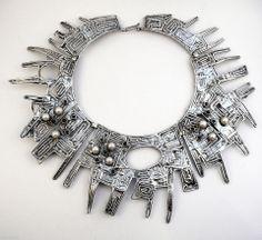 HUGE Vintage 1970s Modernist RACHEL GERA Israel Sterling Pearls Garnets NECKLACE